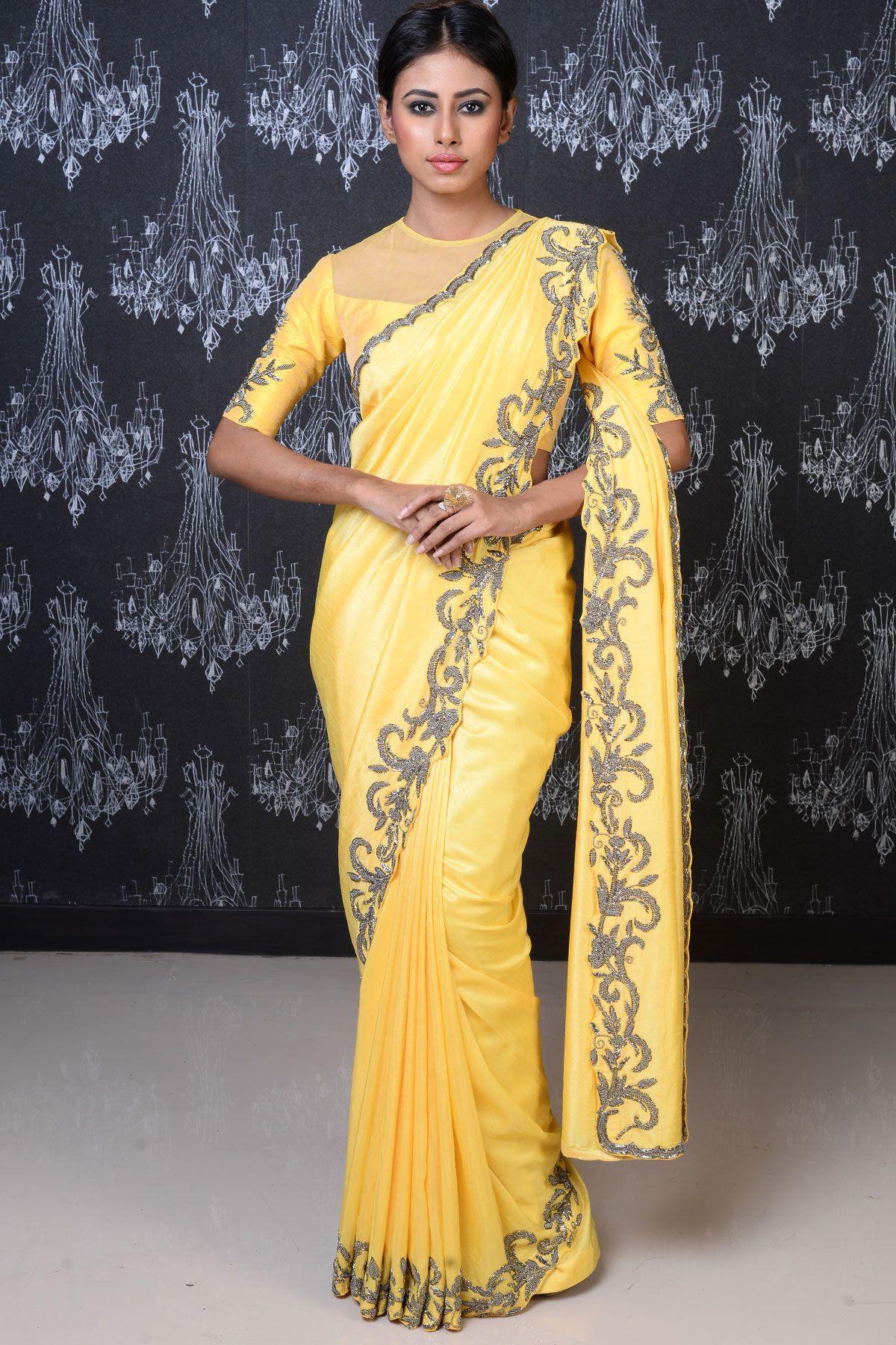 Yellow silk saree bright yellow cutdana embroidered tussar silk sareesr  silk
