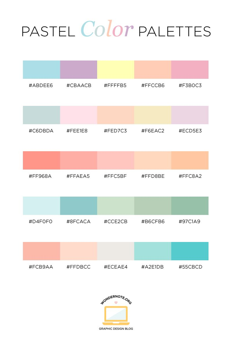 Color Palettes for Web, Digital, Blog & Graphic Design with Hexadecimal Codes - Wondernote