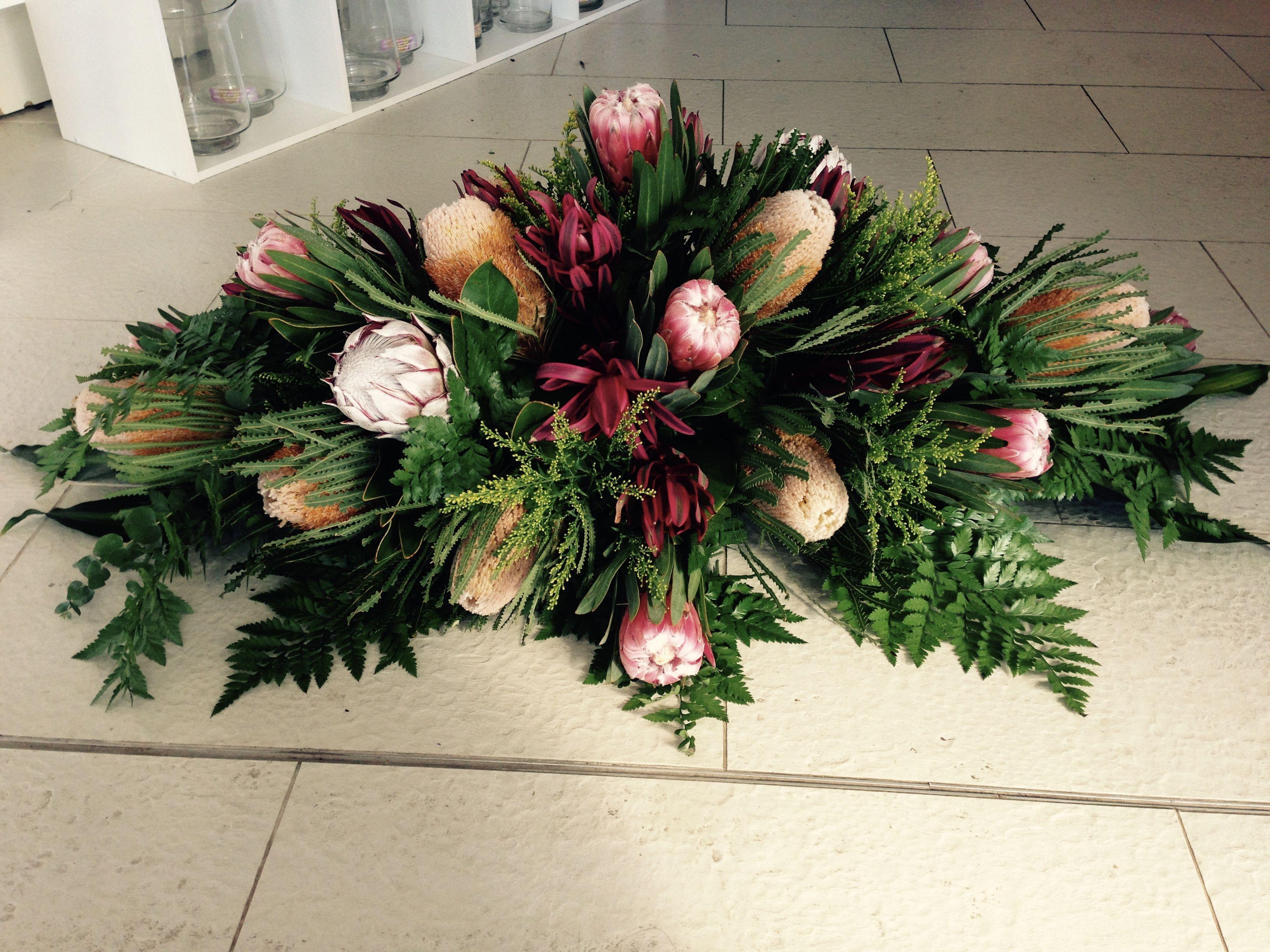 Native Flower Funeral Casket Spray Funerales Pinterest