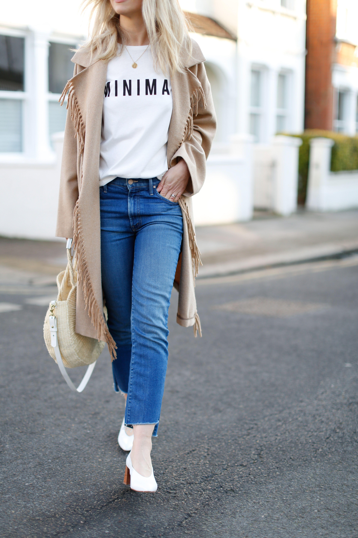 fringe coat and slogan t-shirt