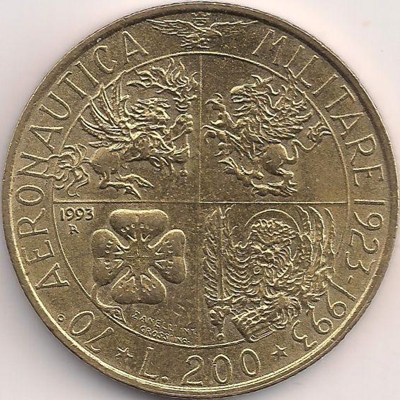 Wertseite: Münze-Europa-Südeuropa-Italien-Lira-200.00-1993