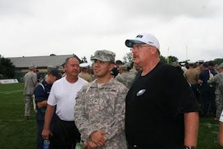Honor our heroes.  Phila Eagles head coach Andy Reid at the teams Military Appreciation Day.