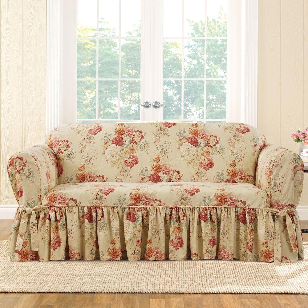 Sure Fit Waverly Ballad Bouquet Sofa Slipcover Beig Green Khaki