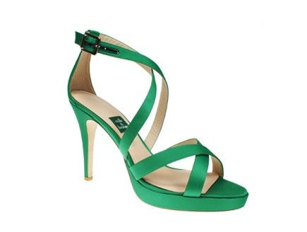 """Love! Brand new addition to Milk and Honey bridal collectoin!   Shown here in Green silk with 4"""" heel with .5"""" platform"""