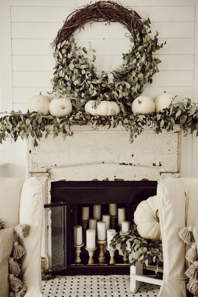 A Very Neutral Fall Mantel With White Pumpkins
