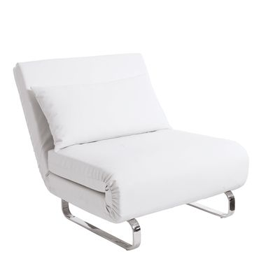 A Luxuriously Soft Folded Chair That Converts Into A Bed In An Instant Covered In Faux Leather And Supp Modern Sofa Bed Faux Leather Chair White Leather Chair