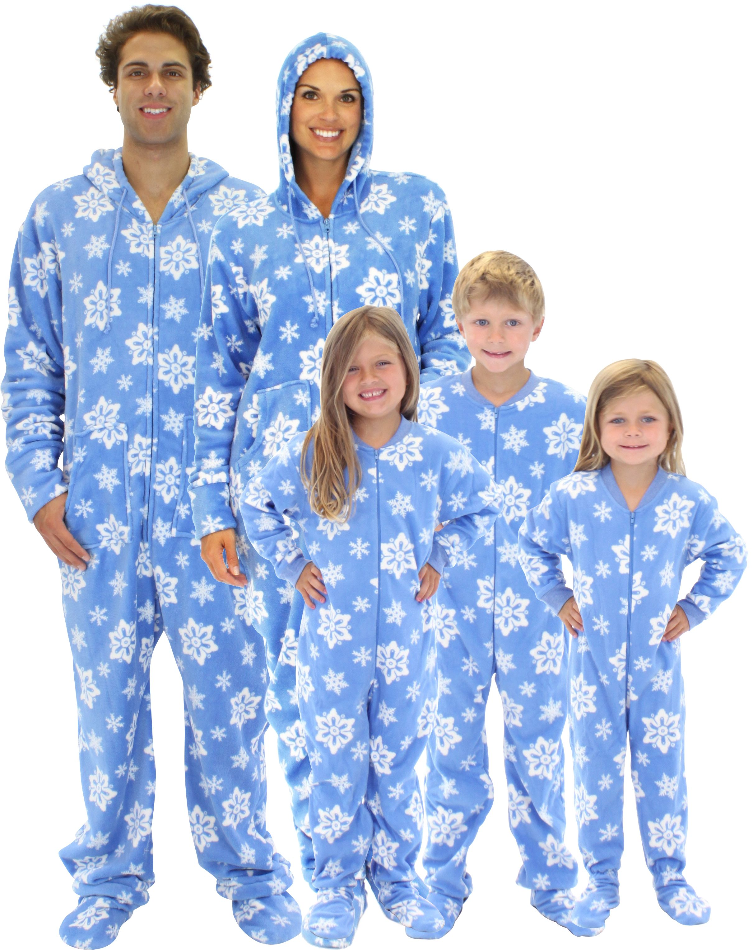Holiday Matching Family Pajamas Blue Snowflakes Footed