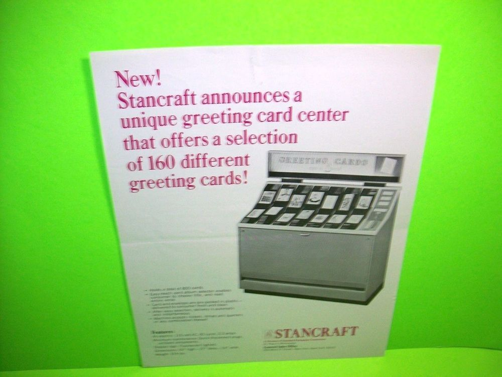 Stancraft Original Greeting Cards Coin Op Vending Machine Promo