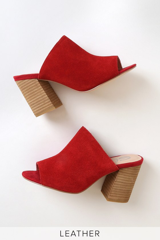 Peep toe mules, Red suede, Suede leather