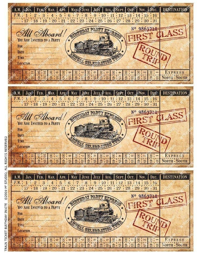 Customized Printable Vintage Train Ticket Birthday Invitation