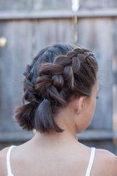 Eingängige umsponnene Frisur-Ideen für die Mädchen, die kurzes Haar haben – F…