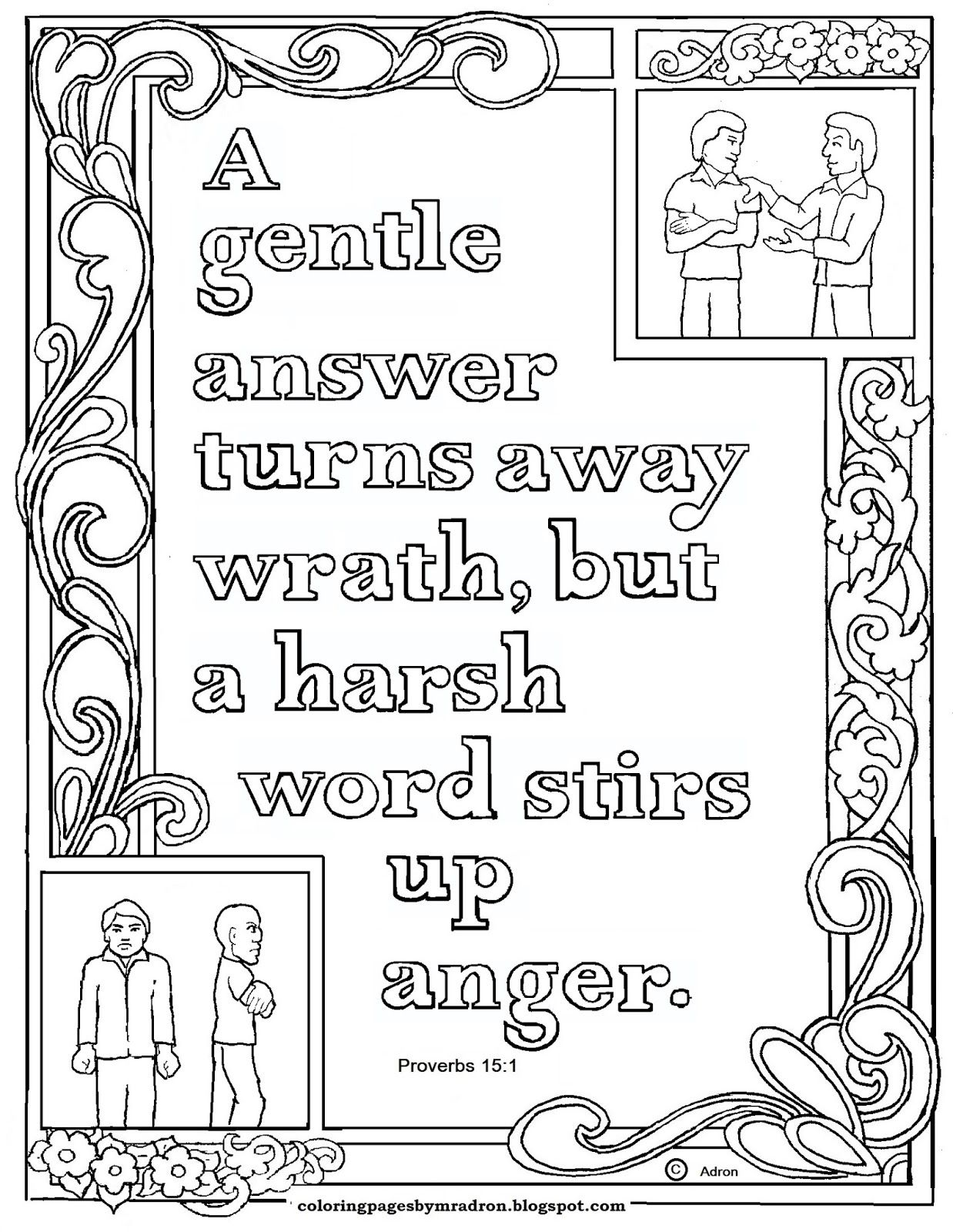 Proverbs 15:1 Bible verse to print and color. This is a free ...