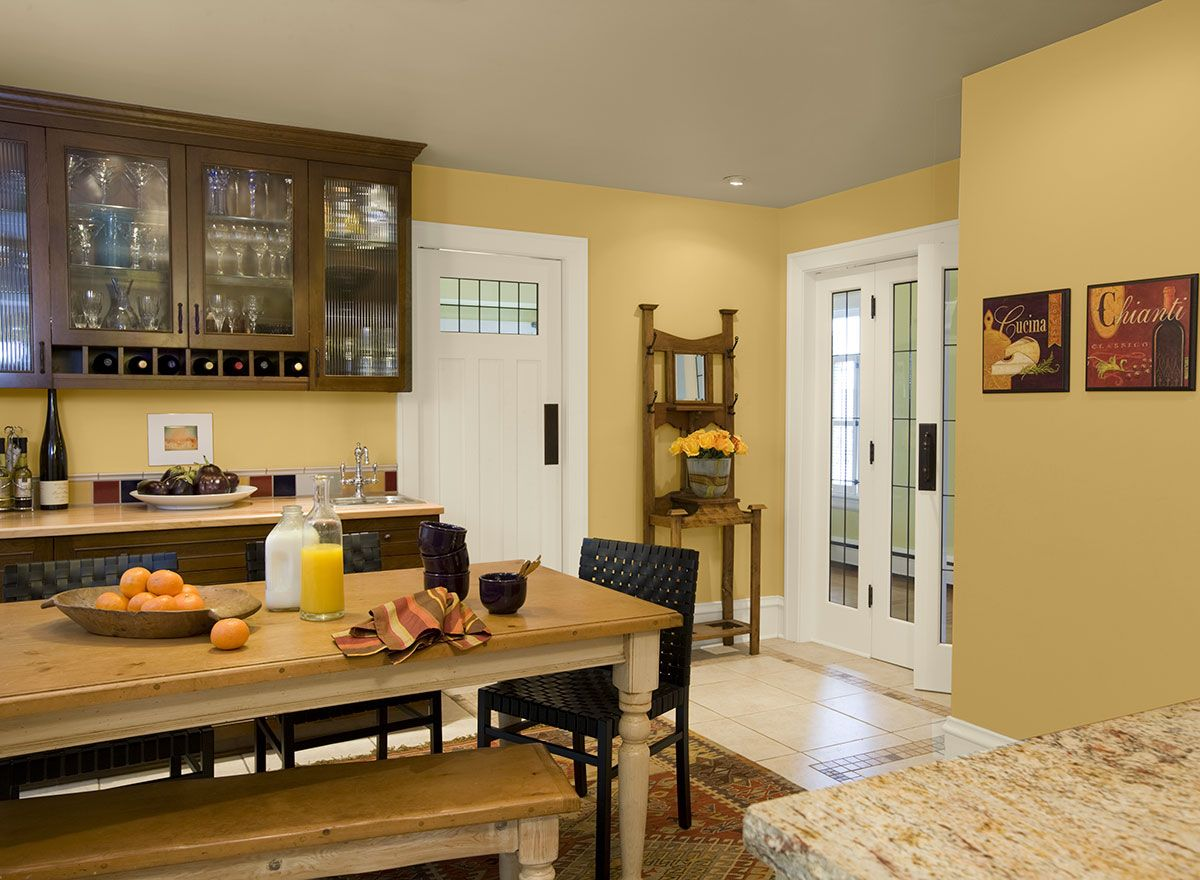 Benjamin Moore Paint Colors - Yellow Kitchen Ideas - Farm-Fresh Yellow  Kitchen - Paint Color Schemes....moonlight2020-60walls COLOR DETAILSBUY  PAINT ...