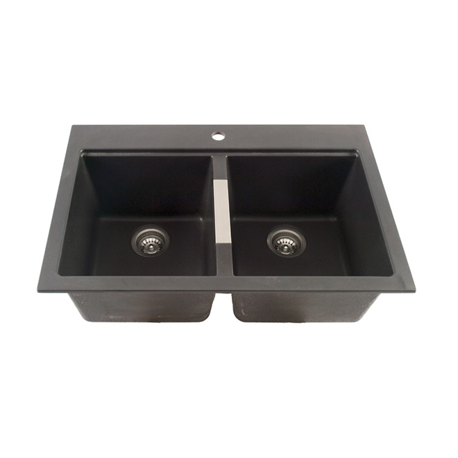 Bon Composite Granite Double Kitchen Sink   Black | RONA