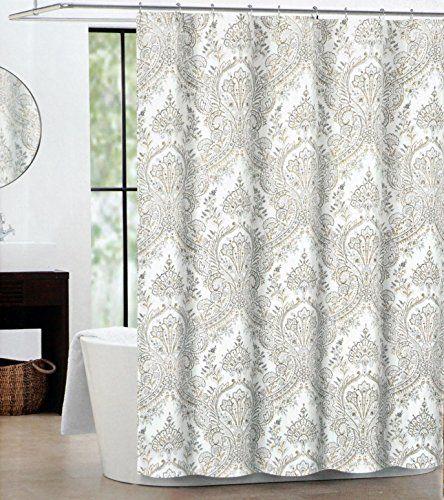Tahari Fabric Shower Curtain Gray Beige Paisley Medallion