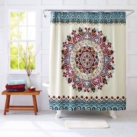 Better Homes and Gardens Medallion Fabric Shower Curtain - Walmart ...