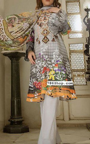 Light Grey Lawn Suit   Buy Kalyan Fashion Dress is part of lawn Design Pakistani - Pakistani Lawn Suits with prices online shopping in USA, UK    Pakistani Lawn clothing for sale with Free Shipping  Call +1 5123801085