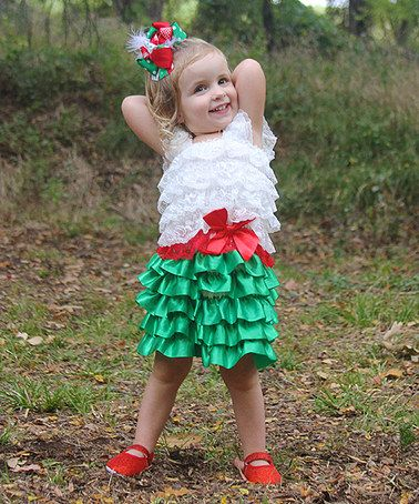 Take a look at this White & Green Ruffle Dress - Toddler & Girls by Diva Daze on #zulily today!