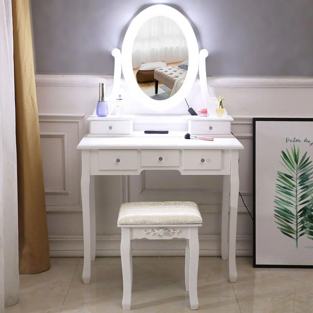 Single Mirror 5 Drawer Dressing Table Stool Set With Light Bulb Make Up Table Home Makeup Mirrors Vintage Dressing Table Mdf Dressing Table With Drawers In 2020 Vanity Table Set