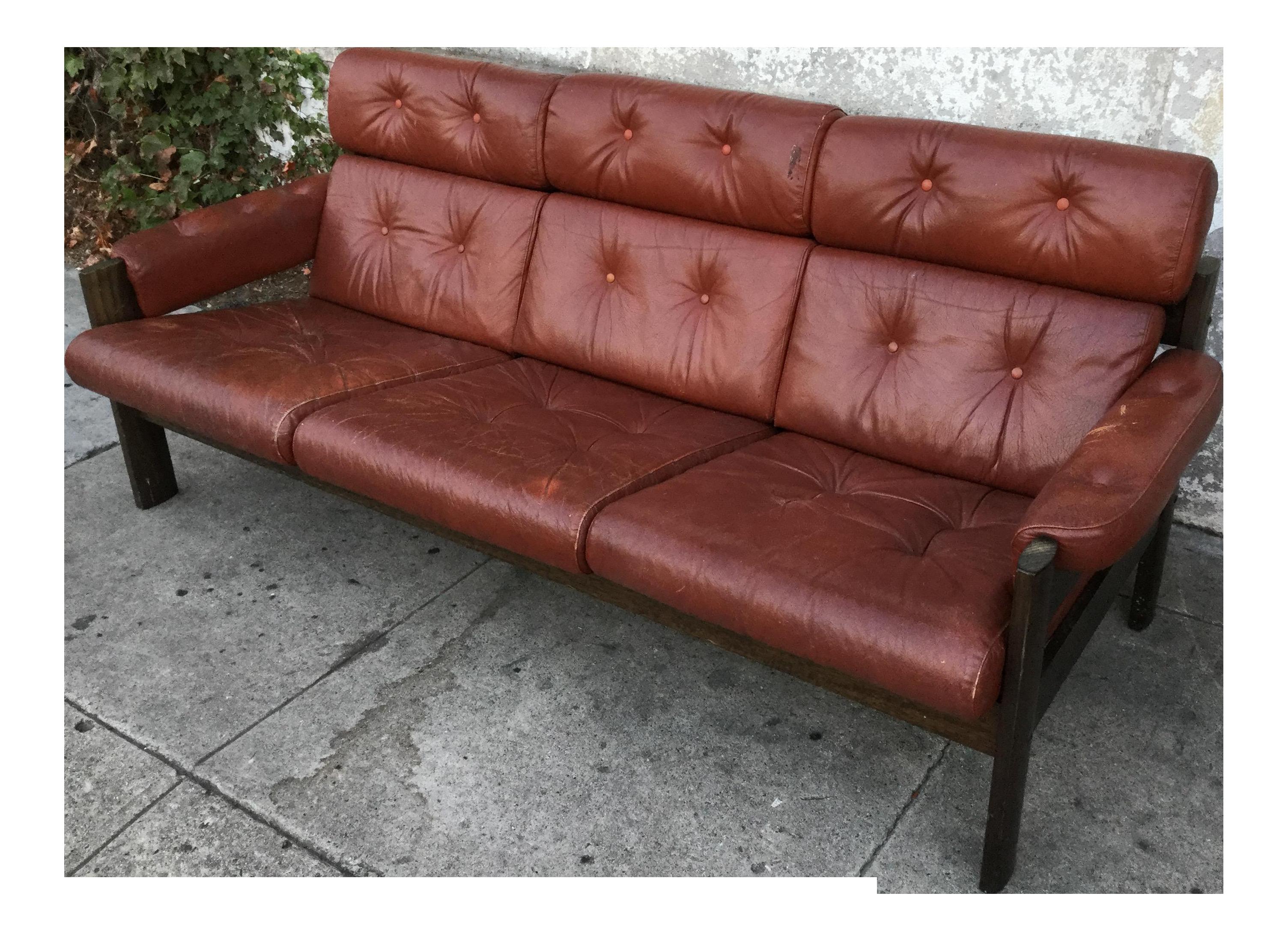 Vintage Leather Percival Lafer Brazilian Sofa