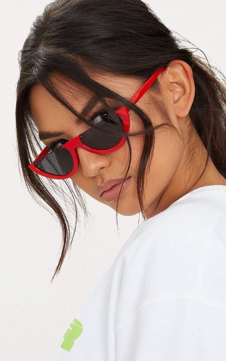 111bfe708c0 Red Rounded Half Frame Retro SunglassesGirl get retro vibes with these half  frame sunglasses.