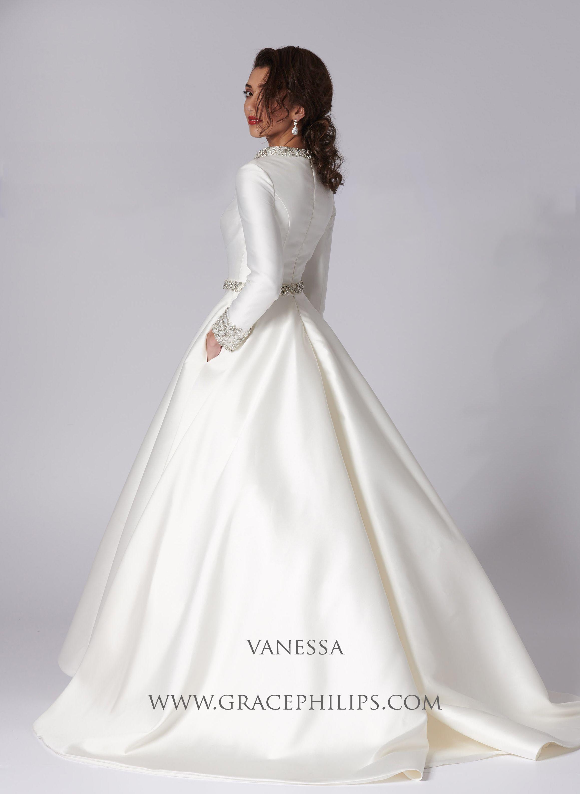 Ivory Mikado Wedding Gown With Diamante Detail Modest Elegant