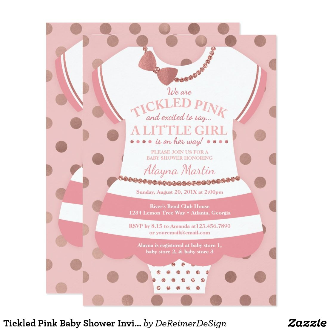 Tickled Pink Baby Shower Invitation, Faux Glitter Card | Invitations ...