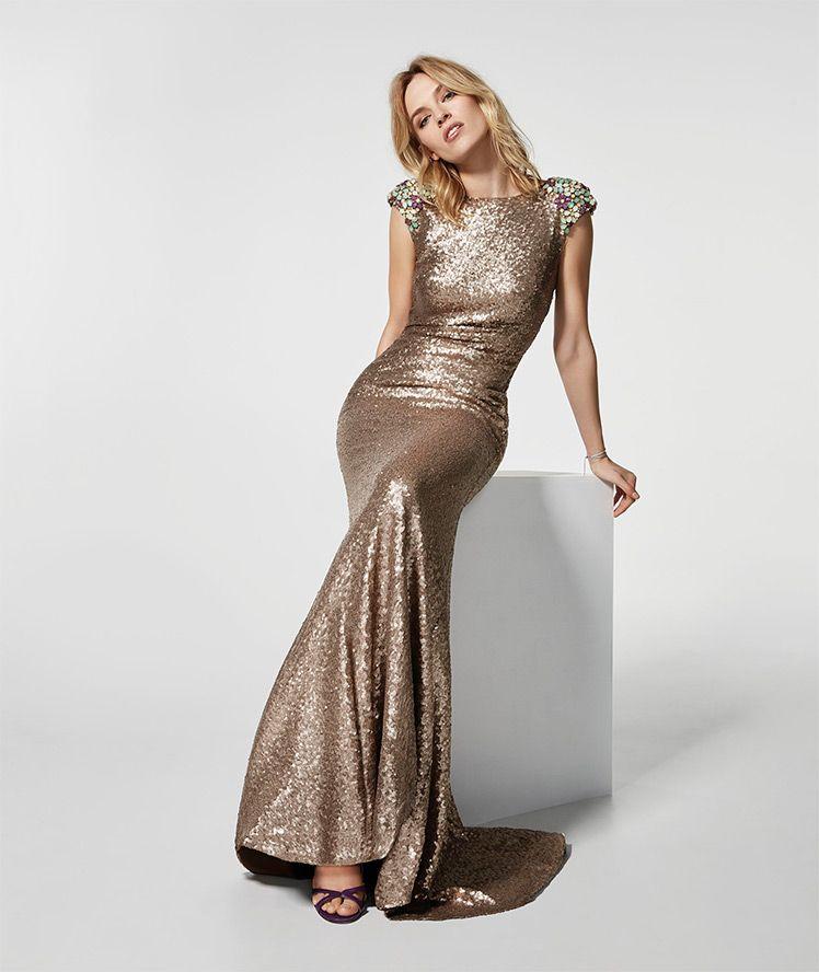 c3441673b5 Imagen del vestido de fiesta dorado (62005). Vestido GRAY largo manga corta