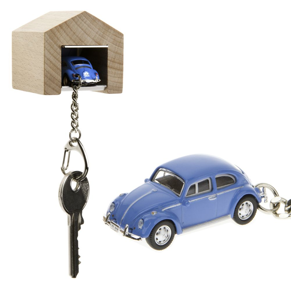 The Design Gift Shop   Wall Mounted Garage And Keyring With Blue VW Beetle