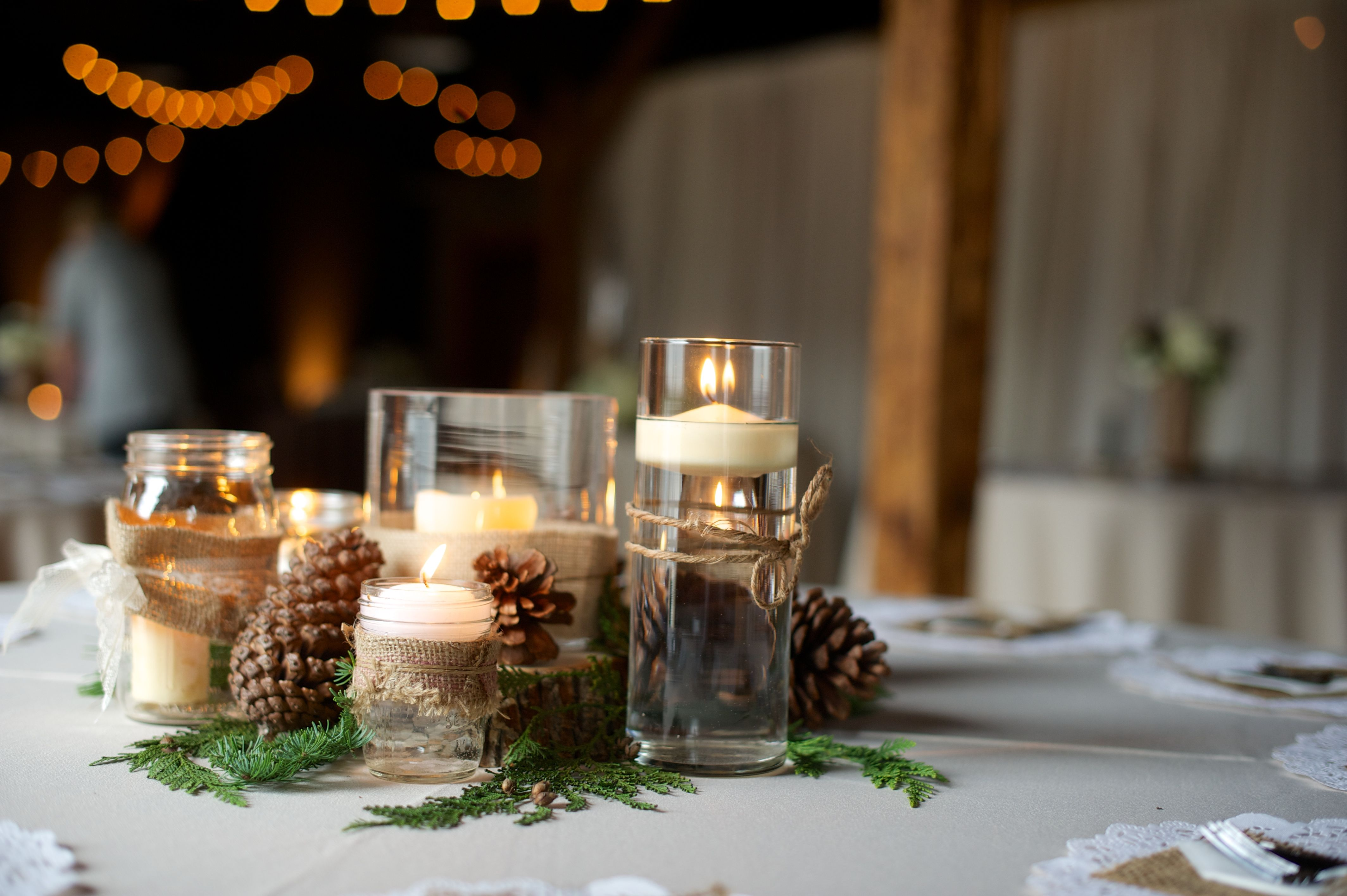 These Pinecone And Burlap Arrangements Create The Warm Rustic