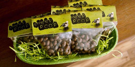 sheep poop party favor - chocolate covered raisins shaun the sheep