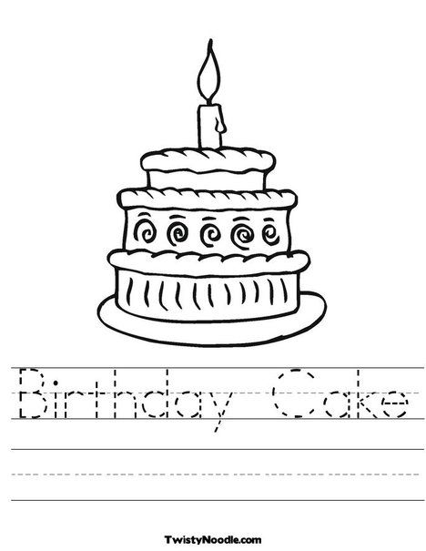 Birthday Cake Worksheet From Twistynoodle Com Preschool Birthday Holiday Worksheets Happy Birthday Coloring Pages