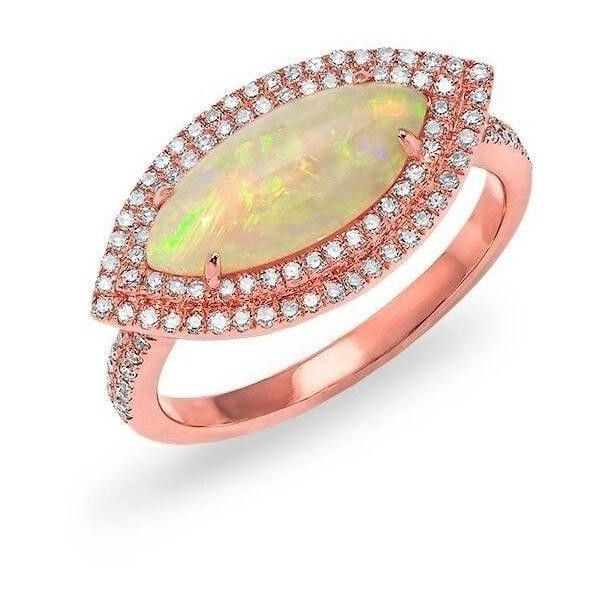 14kt rose gold marquis opal double halo diamond ring 1759