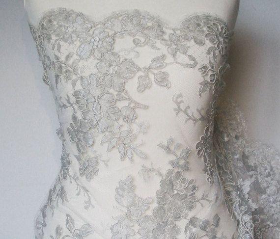 Couture lace ~ Metallic Silver-Ivory ~ Dentelle de Callais ~Solstiss ~ Double scallop ~ Designer lace ~ Corded lace ~ Alençon lace ~ No 40