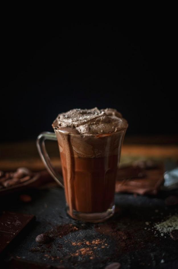 Hot Chocolate with Sea Salt Whipped Cream