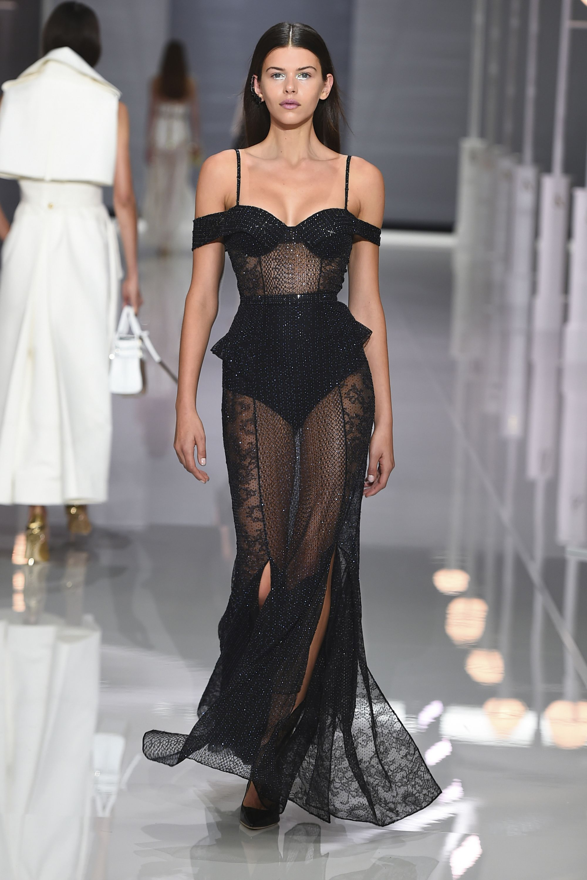 Black crêpe and chiffon lace off-the-shoulder evening gown ...