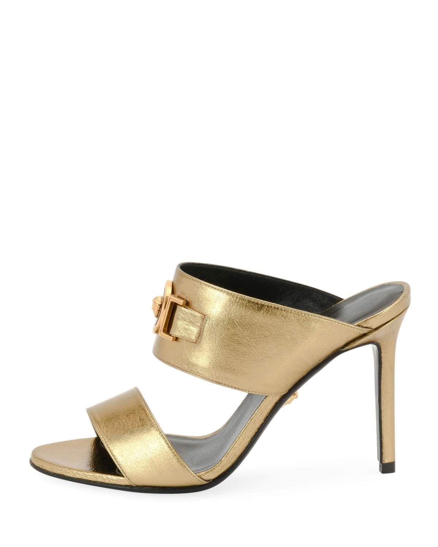 fdbe2985f Versace Icon Medusa Metallic Leather Mule Slide Sandals