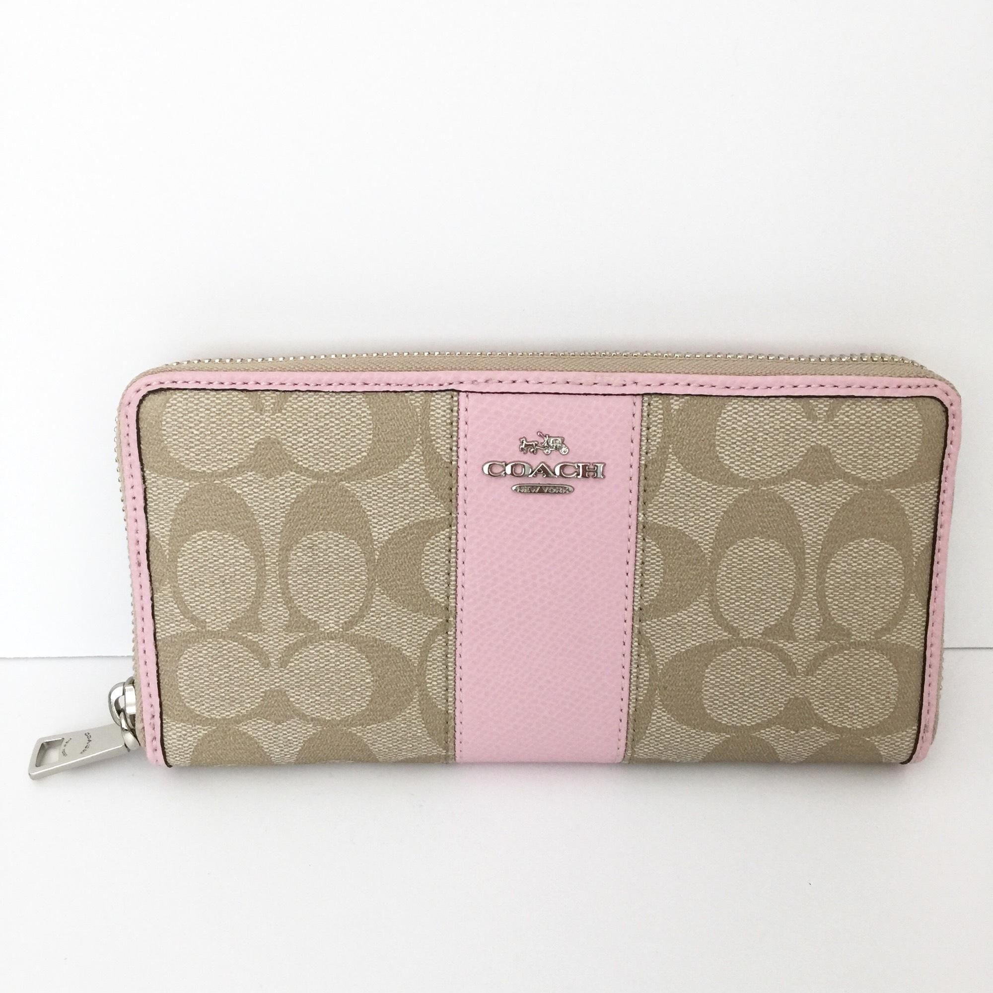 Coach Signature PVC Leather Acc Zip Around Wallet F52859