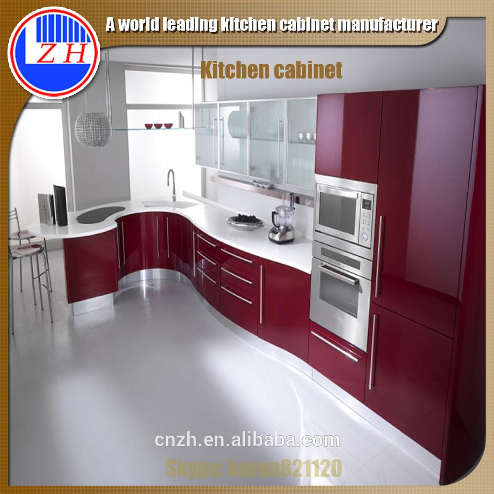 New China Kitchen 2: High Gloss Red Kitchen Cabinet With Acrylic Cabinet Door
