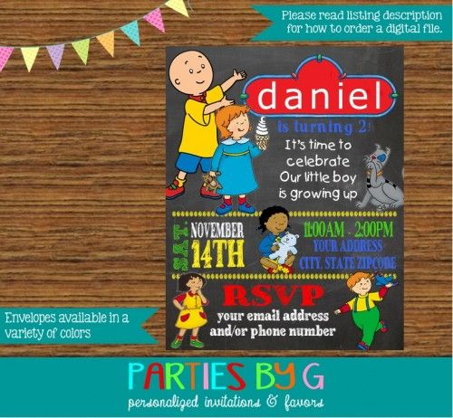 Caillou Birthday Party Invitations Custom Personalized in ...