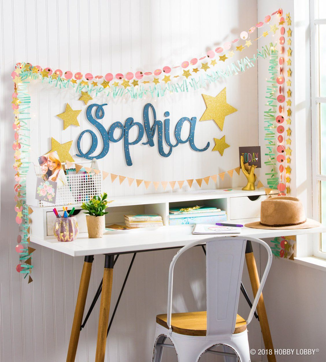 For a study nook that shines bright with personality use glitter