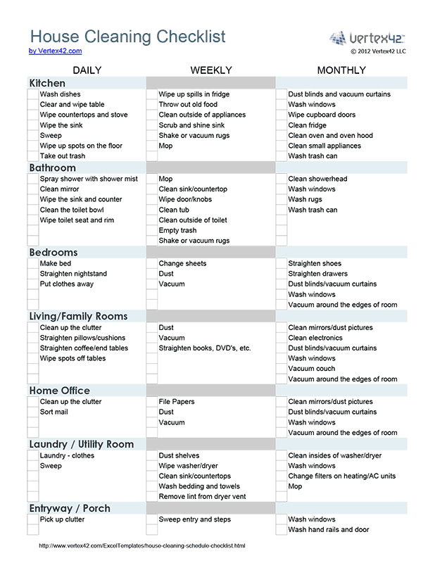 Free Printable House Cleaning Checklist Pdf From VertexCom