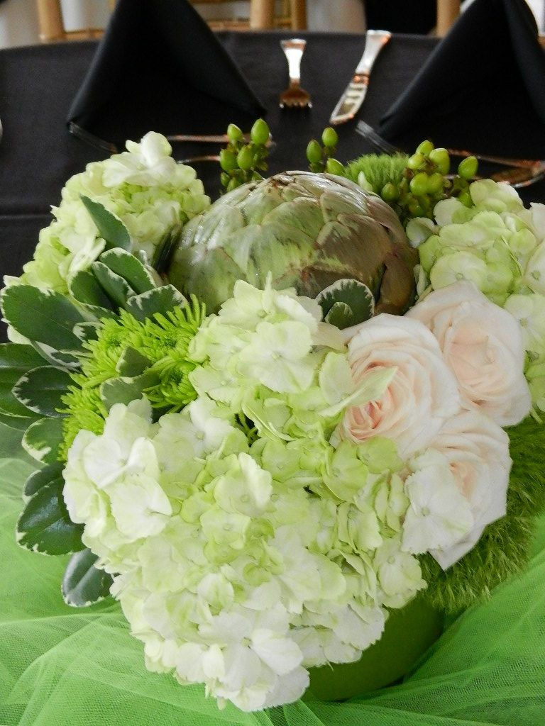 Green And White Centerpiece By Lotus Petals Wedding Flowers