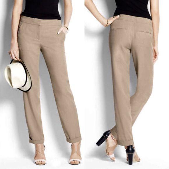 680ca66b7d NWOT Ann Taylor Khaki Relaxed Elastic Waist Pants Color  Sandbar ...