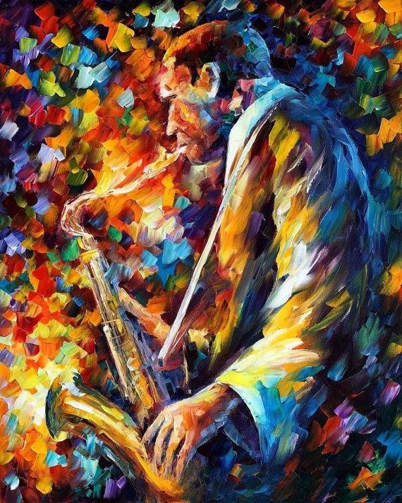 John Coltrane Palette Knife Musician Portrait Wall Art Oil