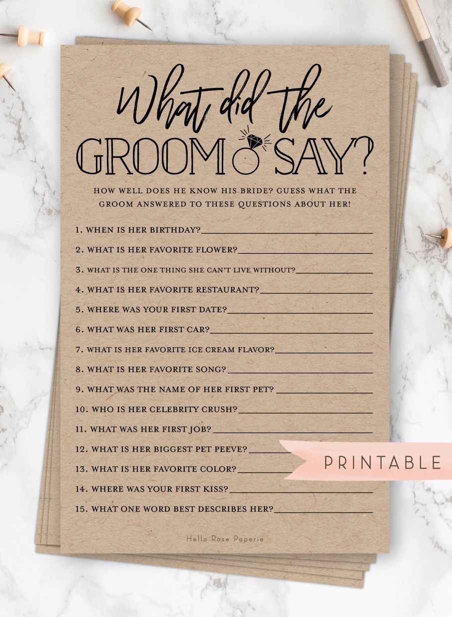 What Did The Groom Say About His Bride Virtual Printable Etsy Bridal Shower Rustic Bridal Shower Questions Fun Bridal Shower Games