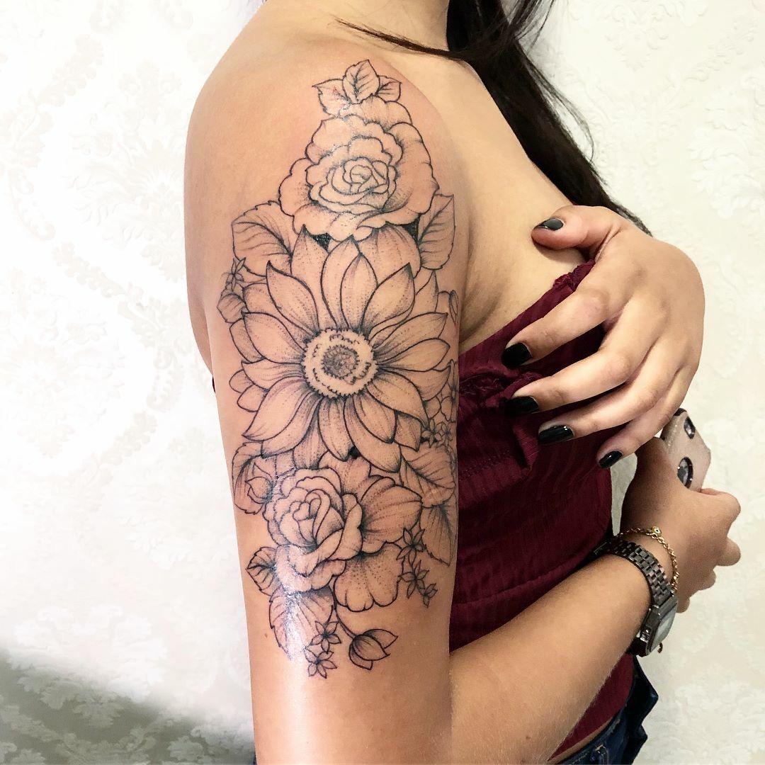 Shoulder Arm Tattoo Flowers