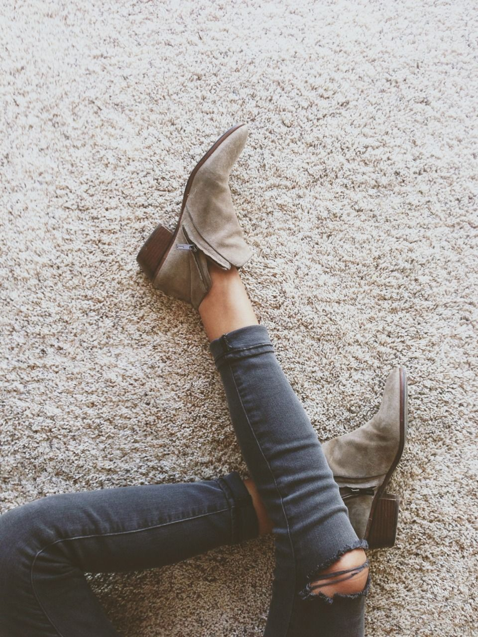 Ripped jeans + booties.