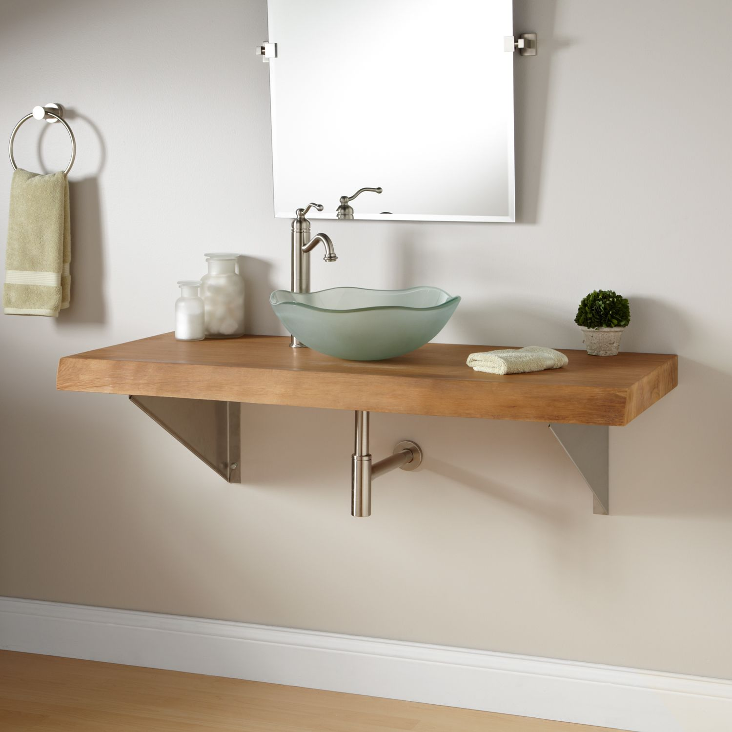 Picture Gallery For Website  Natural Edge Teak Wall Mount Vanity for Vessel Sink