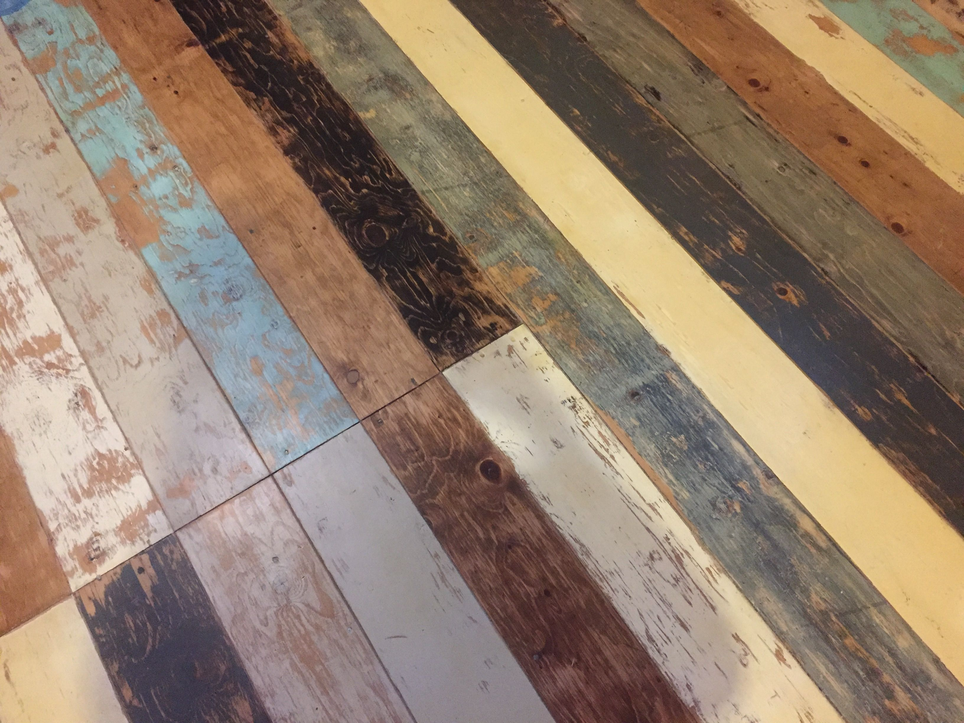 Patchwork Plywood Subfloor Faux Planks Routed In Using 1 8 Deep V Groove Bit And A Sled Jig As A Guide Each Painted Flooring Plywood Subfloor Floor Remodel